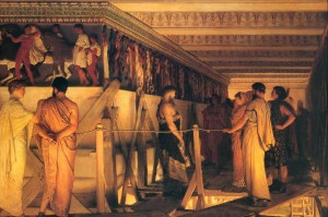 LawrenceAlmaTadema-Phidias-Showing-the-Frieze-of-the-Parthenon-to-his-Friends-1868